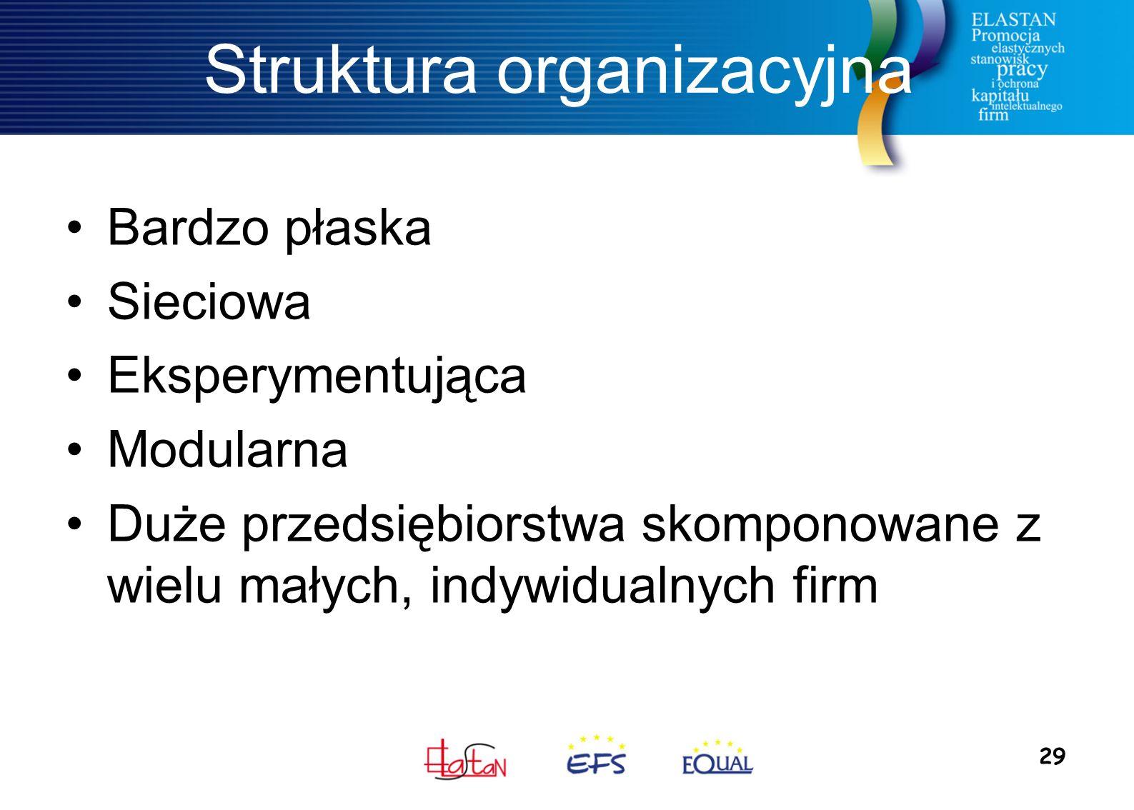 29 Struktura organizacyjna Bardzo płaska Sieciowa Eksperymentująca Modularna Duże przedsiębiorstwa skomponowane z wielu małych, indywidualnych firm