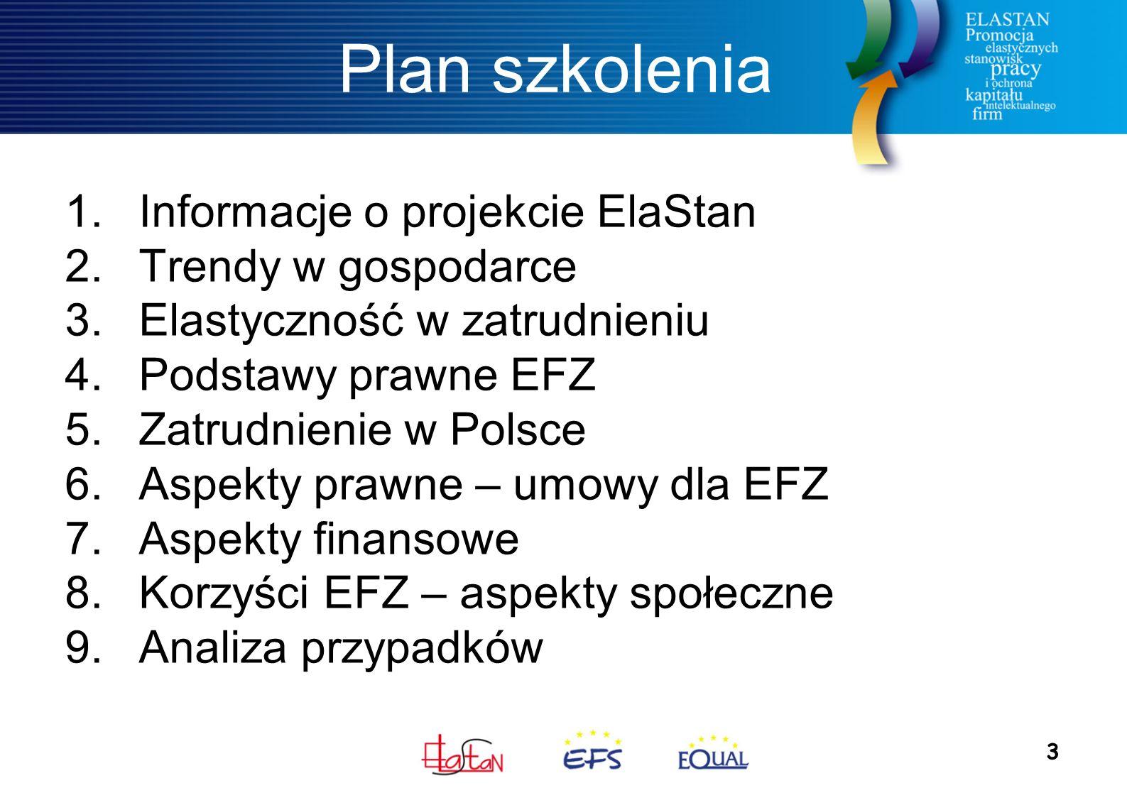 3 Plan szkolenia 1.Informacje o projekcie ElaStan 2.Trendy w gospodarce 3.Elastyczność w zatrudnieniu 4.Podstawy prawne EFZ 5.Zatrudnienie w Polsce 6.Aspekty prawne – umowy dla EFZ 7.Aspekty finansowe 8.Korzyści EFZ – aspekty społeczne 9.Analiza przypadków