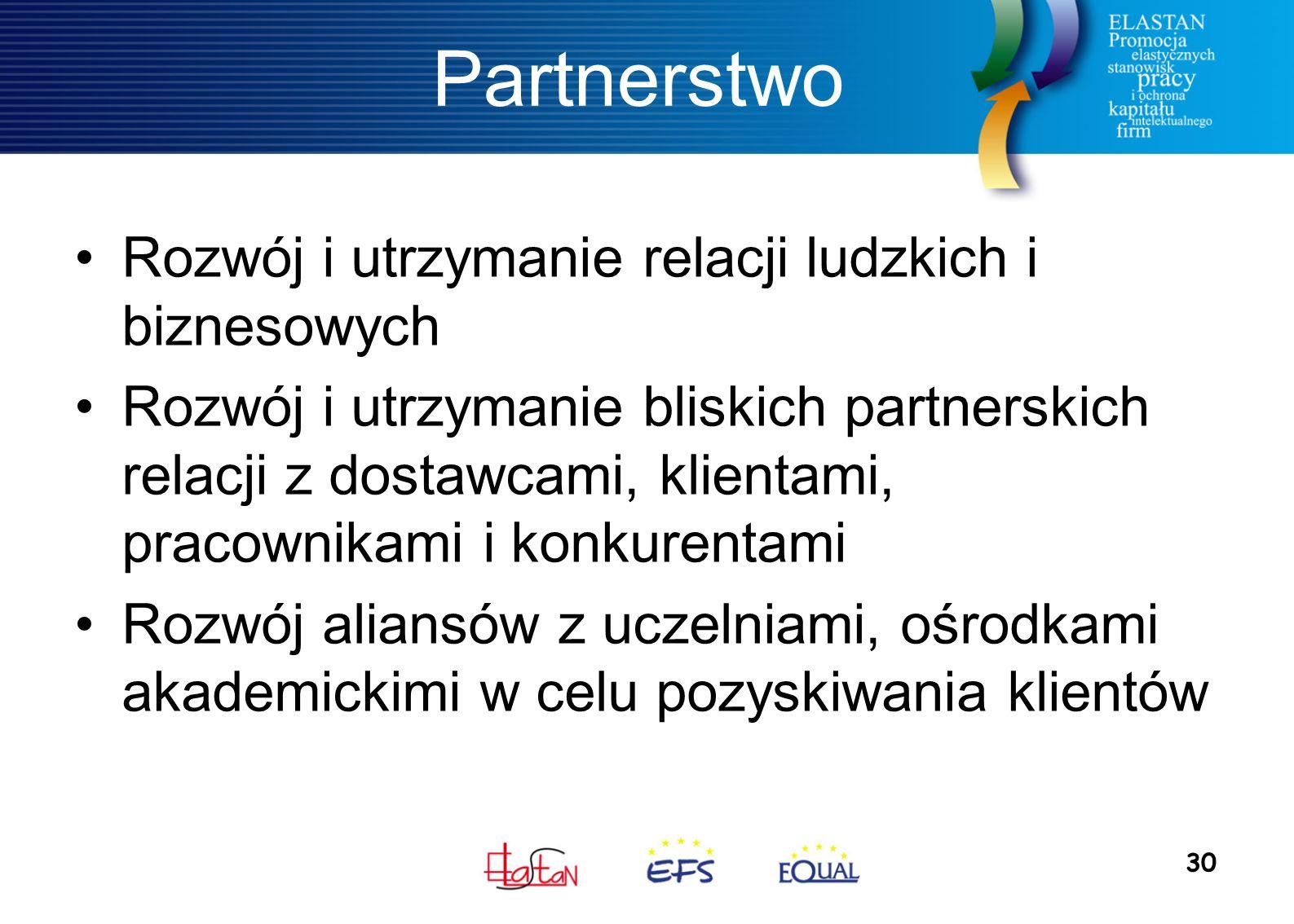 30 Partnerstwo Rozwój i utrzymanie relacji ludzkich i biznesowych Rozwój i utrzymanie bliskich partnerskich relacji z dostawcami, klientami, pracownikami i konkurentami Rozwój aliansów z uczelniami, ośrodkami akademickimi w celu pozyskiwania klientów