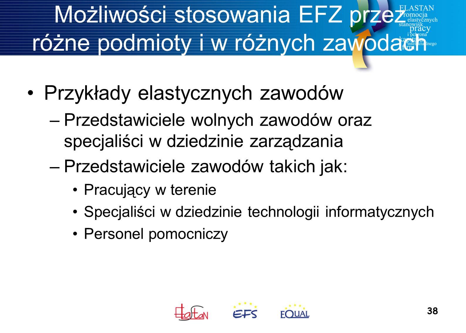 38 Możliwości stosowania EFZ przez różne podmioty i w różnych zawodach Przykłady elastycznych zawodów –Przedstawiciele wolnych zawodów oraz specjaliśc