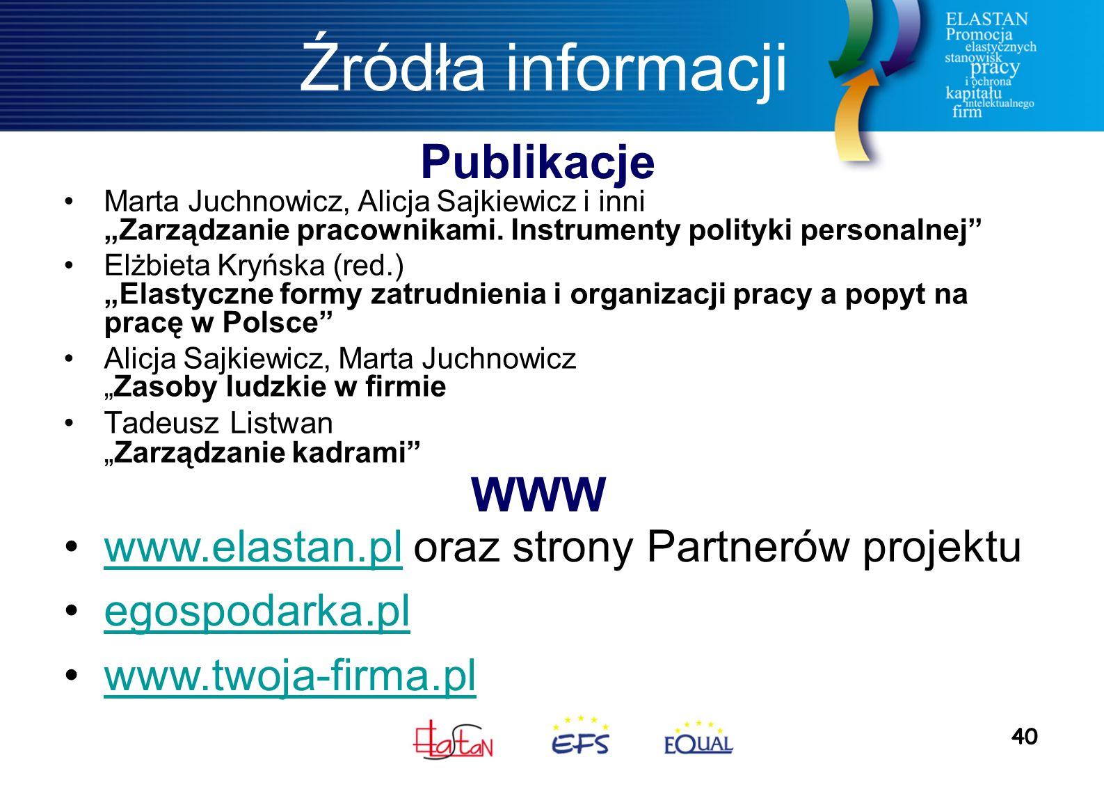 """40 Źródła informacji Marta Juchnowicz, Alicja Sajkiewicz i inni """"Zarządzanie pracownikami."""