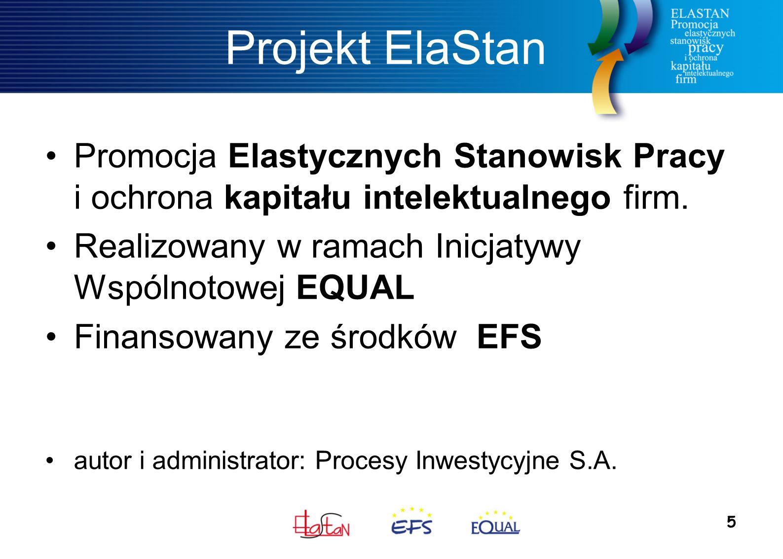 5 Projekt ElaStan Promocja Elastycznych Stanowisk Pracy i ochrona kapitału intelektualnego firm. Realizowany w ramach Inicjatywy Wspólnotowej EQUAL Fi