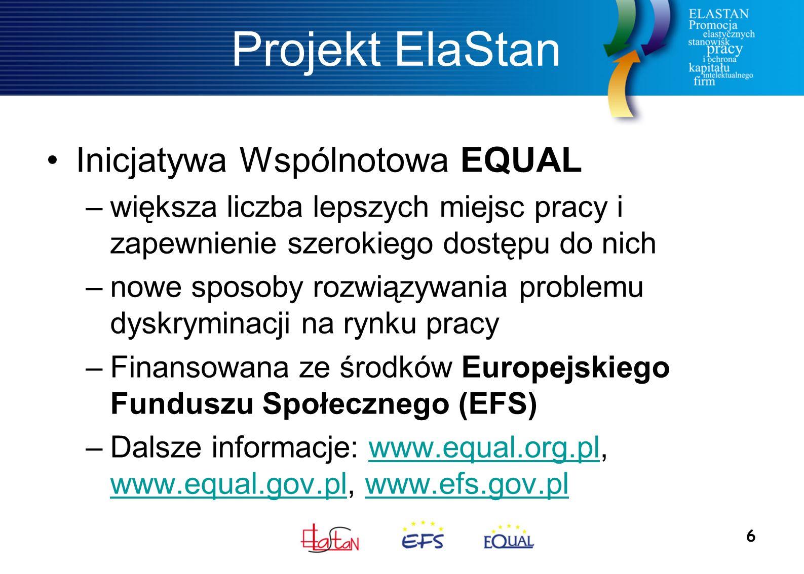 6 Projekt ElaStan Inicjatywa Wspólnotowa EQUAL –większa liczba lepszych miejsc pracy i zapewnienie szerokiego dostępu do nich –nowe sposoby rozwiązywania problemu dyskryminacji na rynku pracy –Finansowana ze środków Europejskiego Funduszu Społecznego (EFS) –Dalsze informacje: www.equal.org.pl, www.equal.gov.pl, www.efs.gov.plwww.equal.org.pl www.equal.gov.plwww.efs.gov.pl