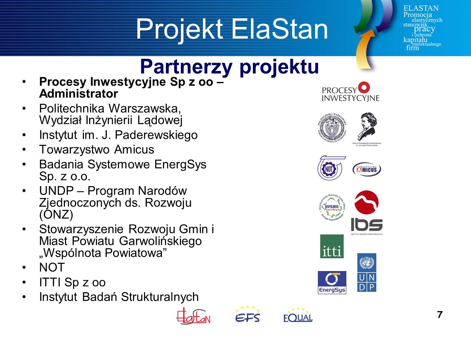 7 Projekt ElaStan Procesy Inwestycyjne Sp z oo – Administrator Politechnika Warszawska, Wydział Inżynierii Lądowej Instytut im.