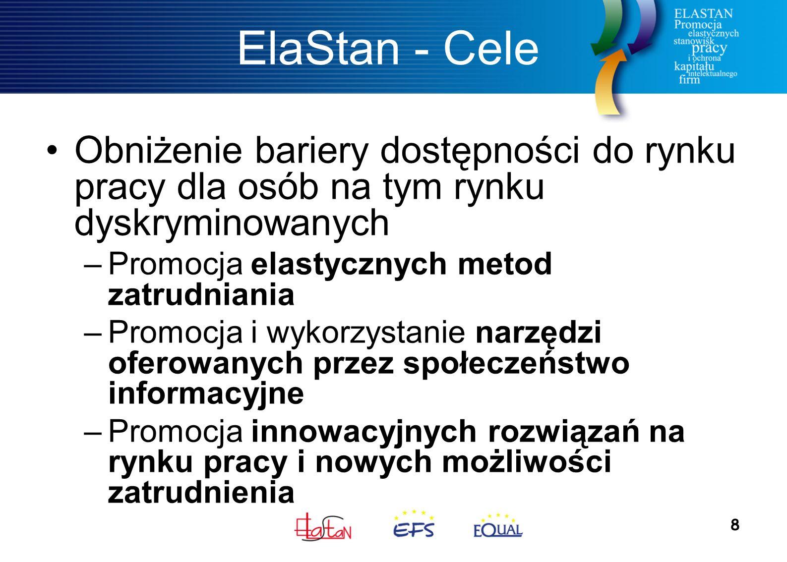 8 ElaStan - Cele Obniżenie bariery dostępności do rynku pracy dla osób na tym rynku dyskryminowanych –Promocja elastycznych metod zatrudniania –Promocja i wykorzystanie narzędzi oferowanych przez społeczeństwo informacyjne –Promocja innowacyjnych rozwiązań na rynku pracy i nowych możliwości zatrudnienia