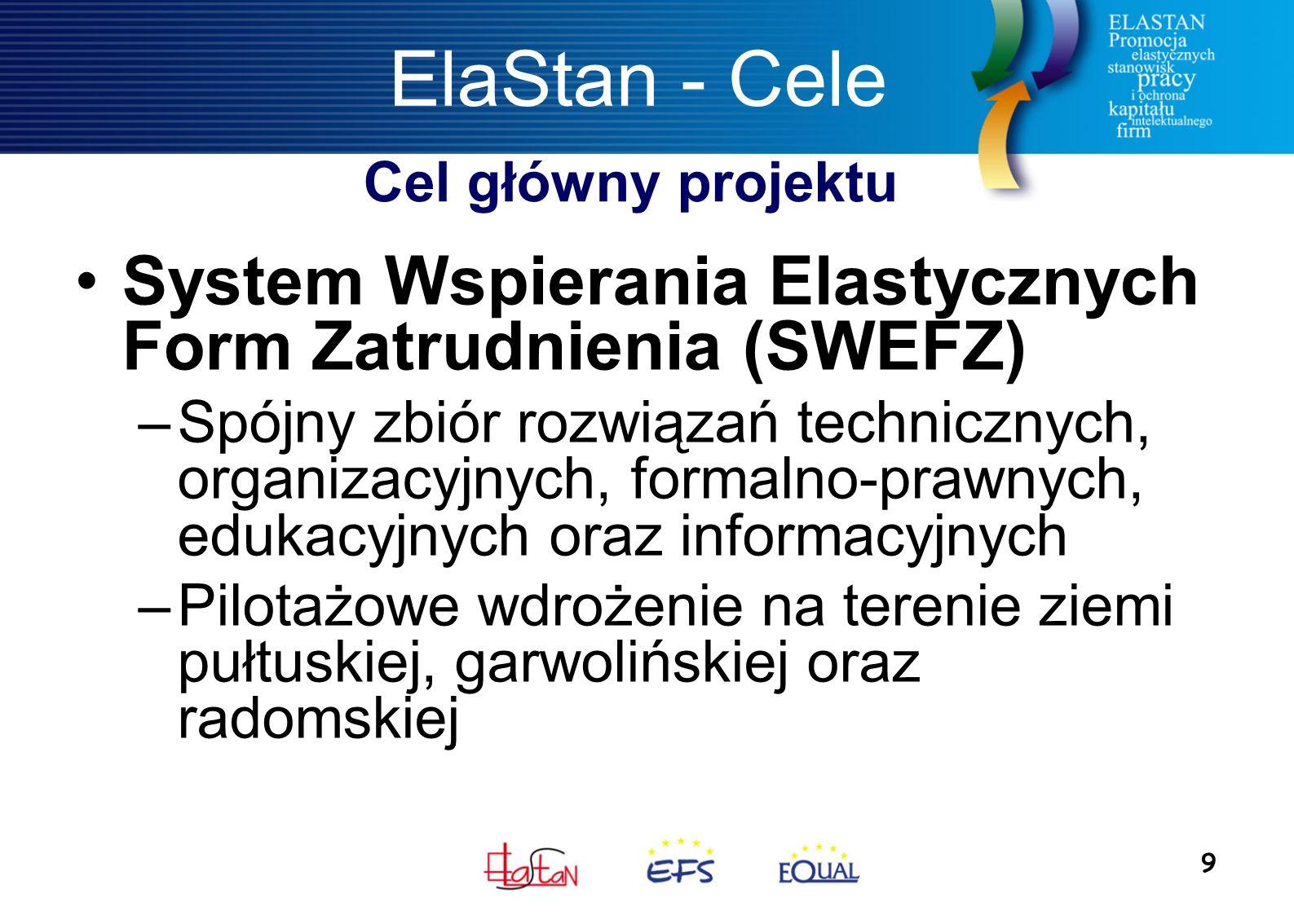 9 ElaStan - Cele System Wspierania Elastycznych Form Zatrudnienia (SWEFZ) –Spójny zbiór rozwiązań technicznych, organizacyjnych, formalno-prawnych, edukacyjnych oraz informacyjnych –Pilotażowe wdrożenie na terenie ziemi pułtuskiej, garwolińskiej oraz radomskiej Cel główny projektu