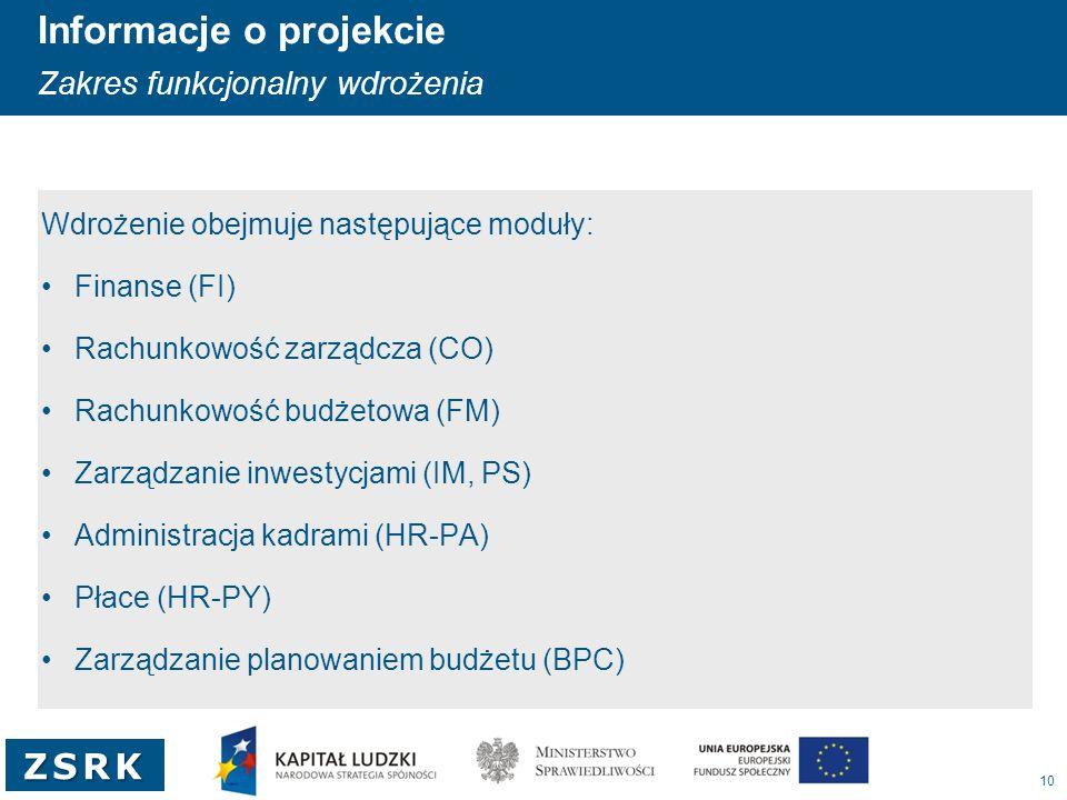 10 ZSRK Informacje o projekcie Zakres funkcjonalny wdrożenia Wdrożenie obejmuje następujące moduły: Finanse (FI) Rachunkowość zarządcza (CO) Rachunkow