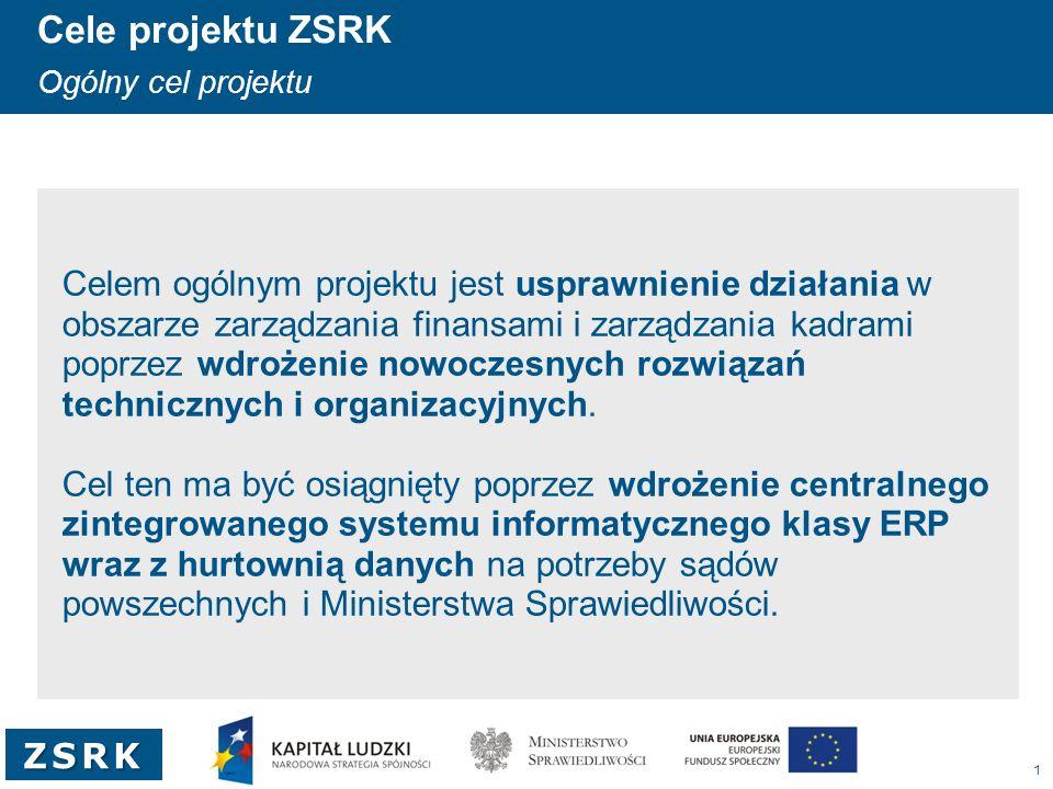 1 ZSRK Cele projektu ZSRK Ogólny cel projektu Celem ogólnym projektu jest usprawnienie działania w obszarze zarządzania finansami i zarządzania kadram