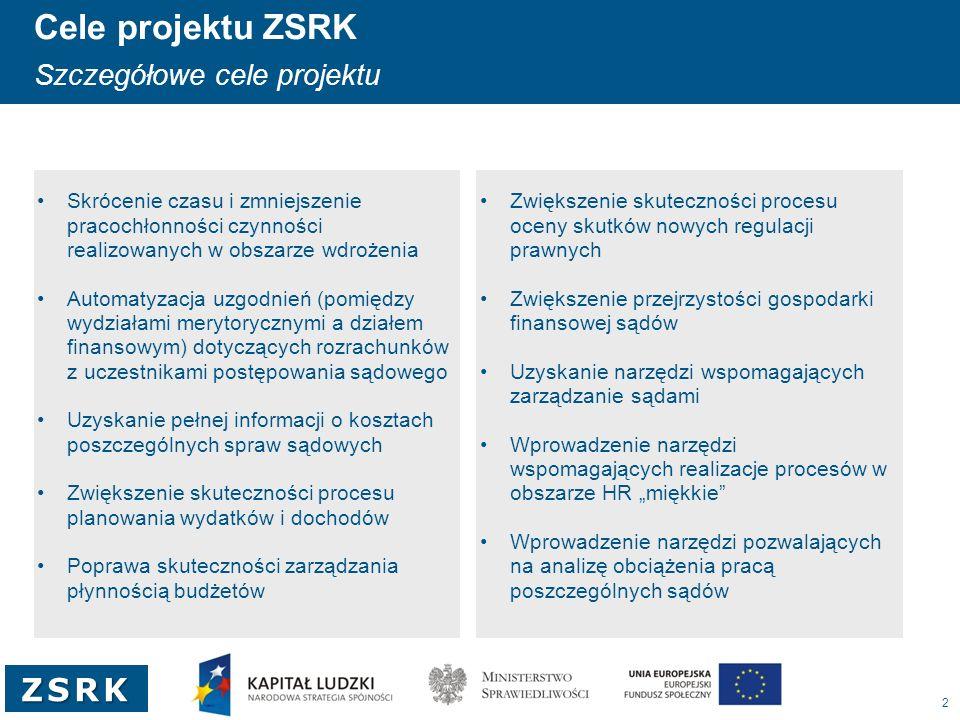 """3 ZSRK Geneza projektu Uzyskane fundusze z UE Projekt jest współfinansowany ze środków Unii Europejskiej w ramach Programu Operacyjnego Kapitał Ludzki Działanie 5.3 """"Wsparcie na rzecz realizacji Strategii Lizbońskiej Projekt """"Zwiększenie efektywności realizacji zadań przez jednostki wymiaru sprawiedliwości Zadanie """"Opracowanie jednolitych zasad rachunkowości dla sądów; wdrożenie systemu informatycznego rachunkowości i systemu zarządzania kadrami w sądach"""
