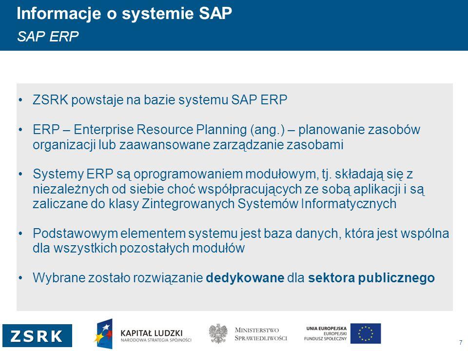 7 ZSRK Informacje o systemie SAP SAP ERP ZSRK powstaje na bazie systemu SAP ERP ERP – Enterprise Resource Planning (ang.) – planowanie zasobów organiz
