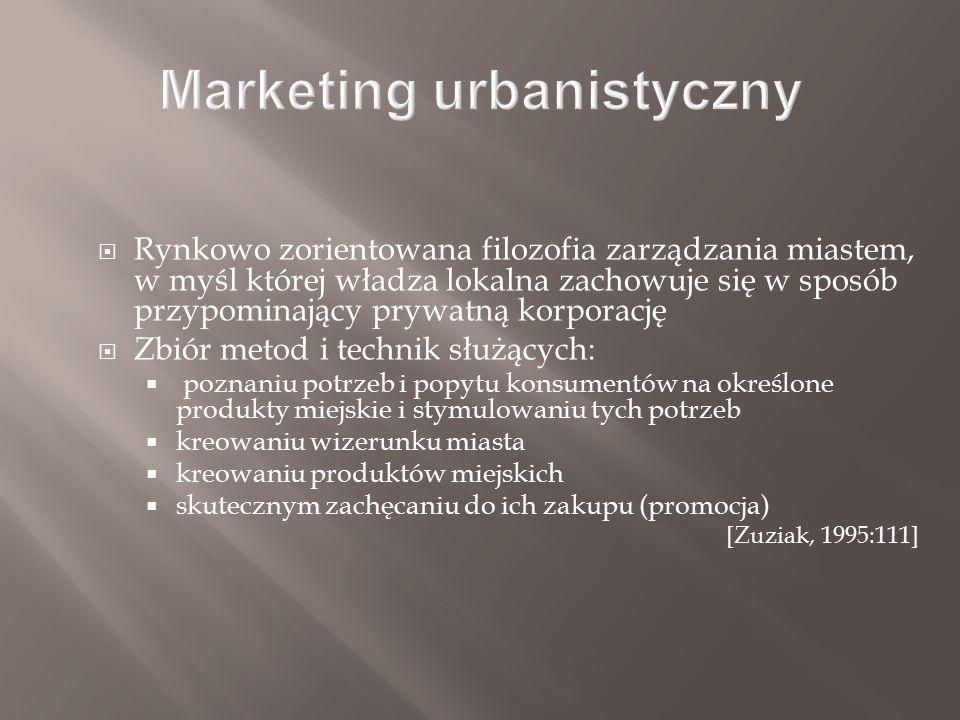  Rynkowo zorientowana filozofia zarządzania miastem, w myśl której władza lokalna zachowuje się w sposób przypominający prywatną korporację  Zbiór metod i technik służących:  poznaniu potrzeb i popytu konsumentów na określone produkty miejskie i stymulowaniu tych potrzeb  kreowaniu wizerunku miasta  kreowaniu produktów miejskich  skutecznym zachęcaniu do ich zakupu (promocja) [Zuziak, 1995:111]