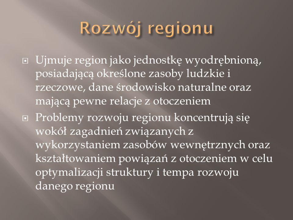  Ujmuje region jako jednostkę wyodrębnioną, posiadającą określone zasoby ludzkie i rzeczowe, dane środowisko naturalne oraz mającą pewne relacje z otoczeniem  Problemy rozwoju regionu koncentrują się wokół zagadnień związanych z wykorzystaniem zasobów wewnętrznych oraz kształtowaniem powiązań z otoczeniem w celu optymalizacji struktury i tempa rozwoju danego regionu