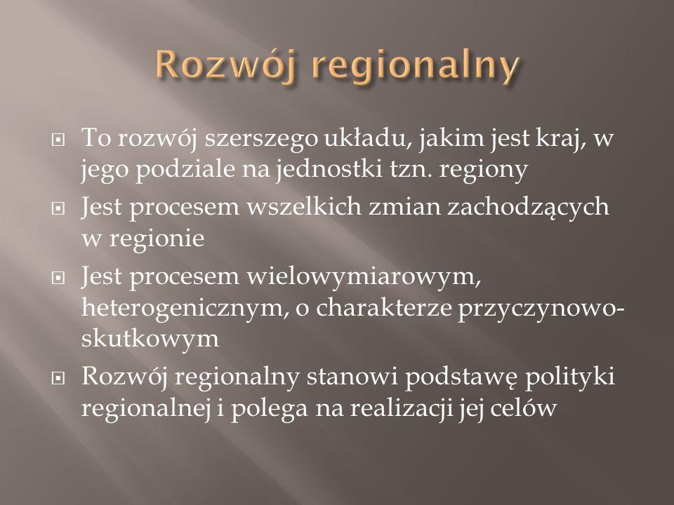  To rozwój szerszego układu, jakim jest kraj, w jego podziale na jednostki tzn.