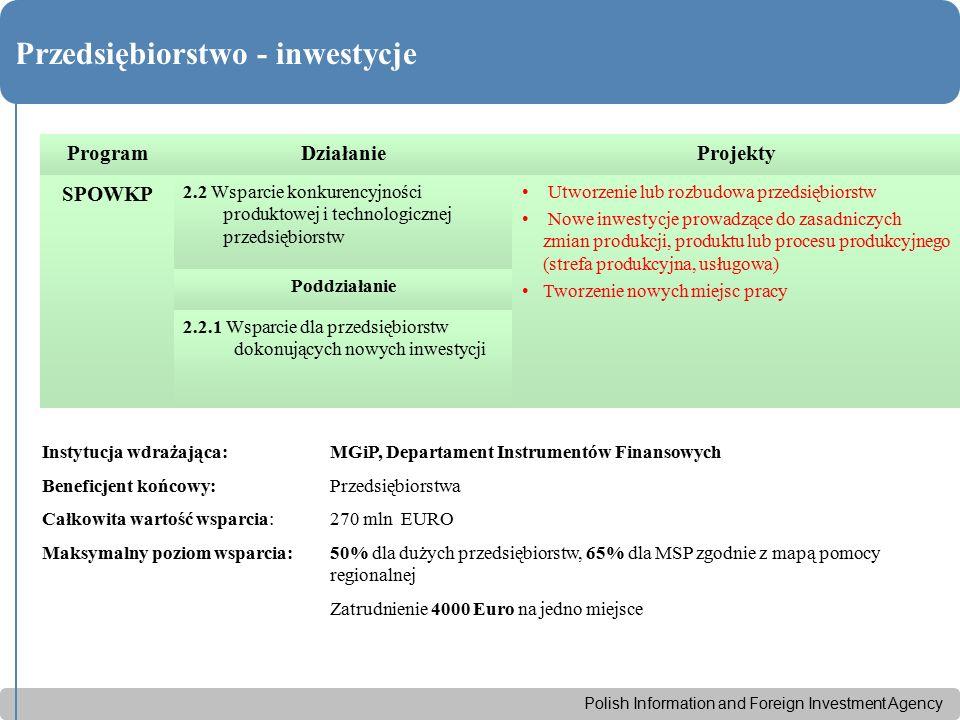 Polish Information and Foreign Investment Agency Przedsiębiorstwo - inwestycje ProgramDziałanieProjekty SPOWKP 2.2 Wsparcie konkurencyjności produktow
