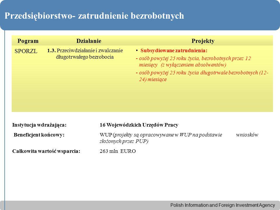 Polish Information and Foreign Investment Agency Przedsiębiorstwo- zatrudnienie bezrobotnych PogramDziałanieProjekty SPORZL 1.3. Przeciwdziałanie i zw