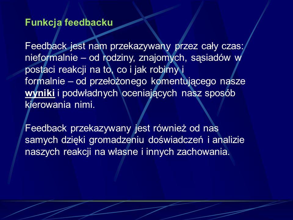 Funkcja feedbacku Feedback jest nam przekazywany przez cały czas: nieformalnie – od rodziny, znajomych, sąsiadów w postaci reakcji na to, co i jak robimy i formalnie – od przełożonego komentującego nasze wyniki i podwładnych oceniających nasz sposób kierowania nimi.