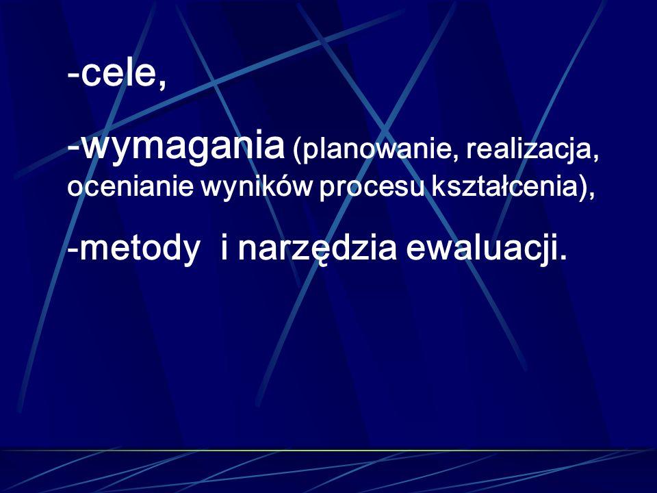 -cele, -wymagania (planowanie, realizacja, ocenianie wyników procesu kształcenia), -metody i narzędzia ewaluacji.