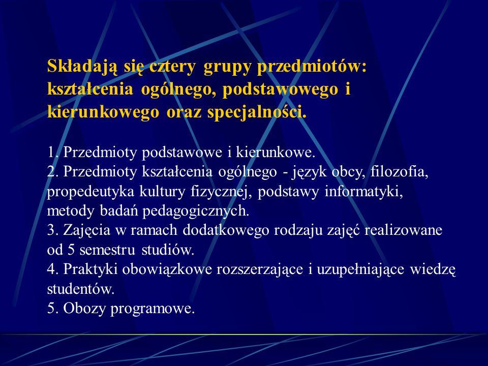 Składają się cztery grupy przedmiotów: kształcenia ogólnego, podstawowego i kierunkowego oraz specjalności. 1. Przedmioty podstawowe i kierunkowe. 2.