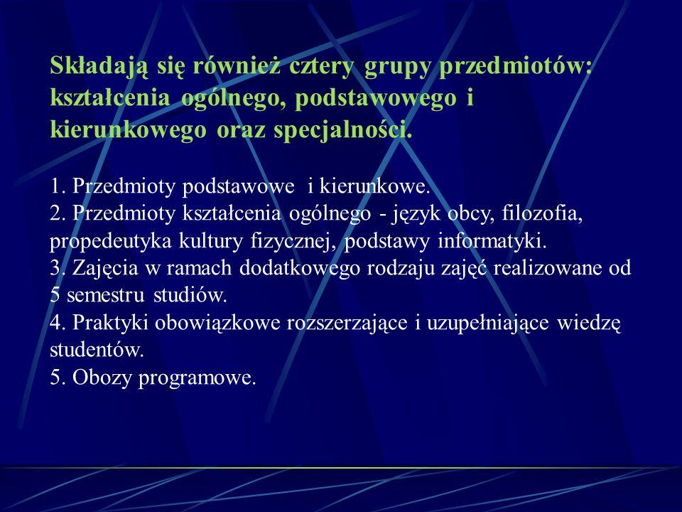 Składają się również cztery grupy przedmiotów: kształcenia ogólnego, podstawowego i kierunkowego oraz specjalności. 1. Przedmioty podstawowe i kierunk