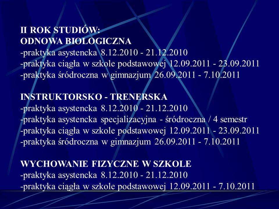 II ROK STUDIÓW: ODNOWA BIOLOGICZNA -praktyka asystencka 8.12.2010 - 21.12.2010 -praktyka ciągła w szkole podstawowej 12.09.2011 - 23.09.2011 -praktyka