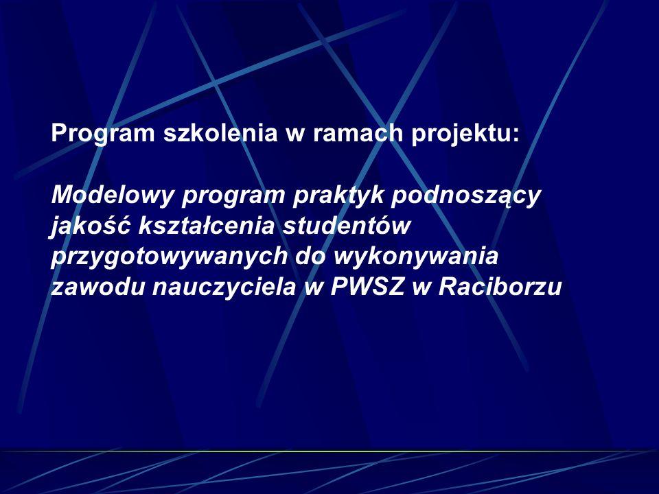 Program szkolenia w ramach projektu: Modelowy program praktyk podnoszący jakość kształcenia studentów przygotowywanych do wykonywania zawodu nauczyciela w PWSZ w Raciborzu