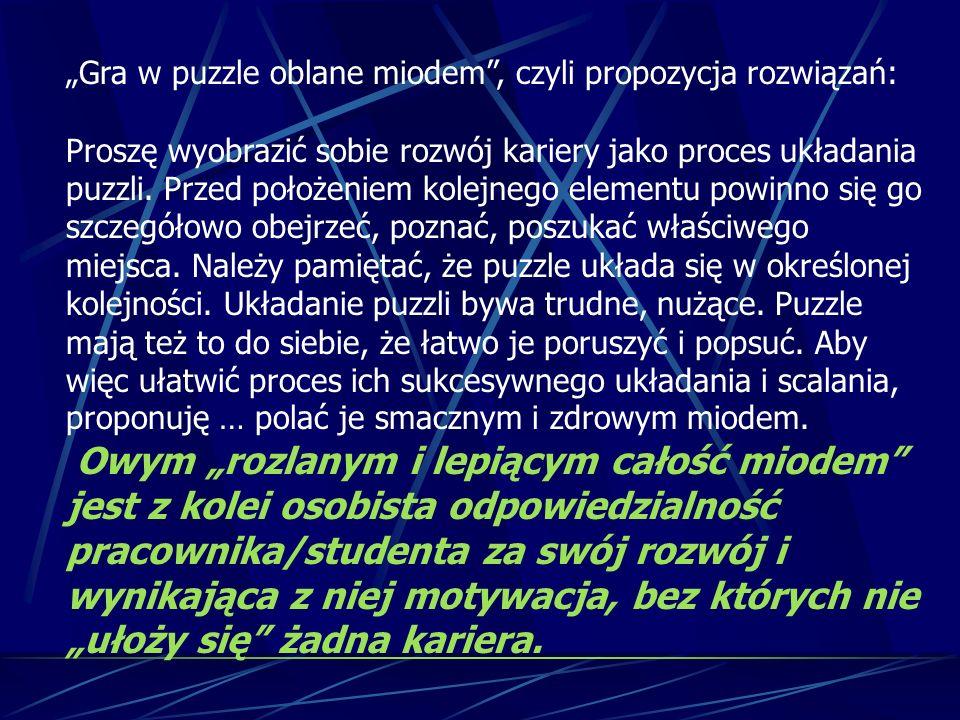 """""""Gra w puzzle oblane miodem"""", czyli propozycja rozwiązań: Proszę wyobrazić sobie rozwój kariery jako proces układania puzzli. Przed położeniem kolejne"""
