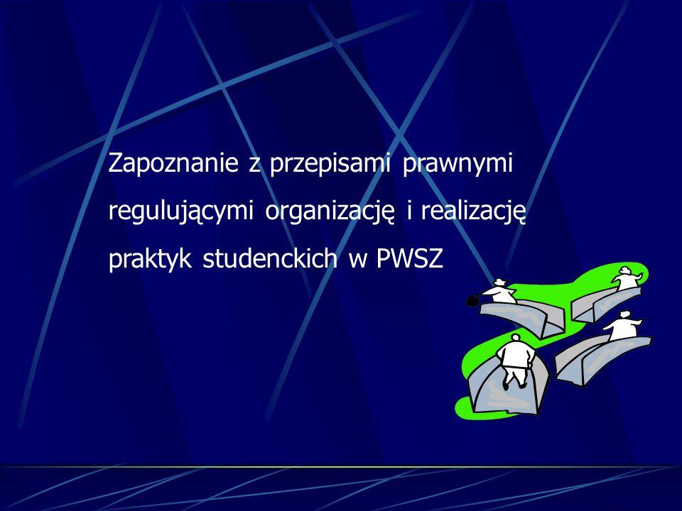 Zapoznanie z przepisami prawnymi regulującymi organizację i realizację praktyk studenckich w PWSZ