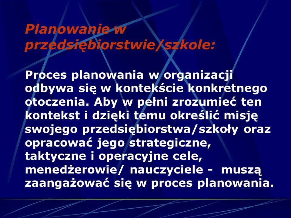Planowanie w przedsiębiorstwie/szkole: Proces planowania w organizacji odbywa się w kontekście konkretnego otoczenia.