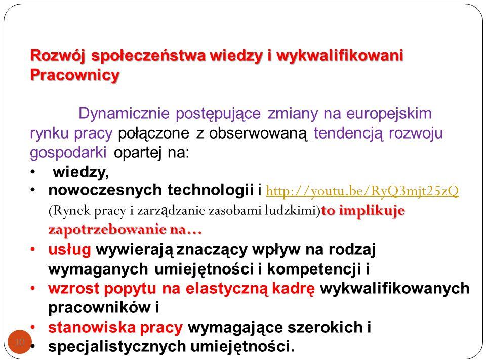 10 Rozwój społeczeństwa wiedzy i wykwalifikowani Pracownicy Dynamicznie postępujące zmiany na europejskim rynku pracy połączone z obserwowaną tendencją rozwoju gospodarki opartej na: wiedzy, to implikuje zapotrzebowanie na…nowoczesnych technologii i http://youtu.be/RyQ3mjt25zQ (Rynek pracy i zarz ą dzanie zasobami ludzkimi)to implikuje zapotrzebowanie na… http://youtu.be/RyQ3mjt25zQ usług wywierają znaczący wpływ na rodzaj wymaganych umiejętności i kompetencji i wzrost popytu na elastyczną kadrę wykwalifikowanych pracowników i stanowiska pracy wymagające szerokich i specjalistycznych umiejętności.