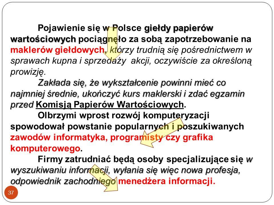 giełdy papierów wartościowych Pojawienie się w Polsce giełdy papierów wartościowych pociągnęło za sobą zapotrzebowanie na maklerów giełdowych, którzy trudnią się pośrednictwem w sprawach kupna i sprzedaży akcji, oczywiście za określoną prowizję.