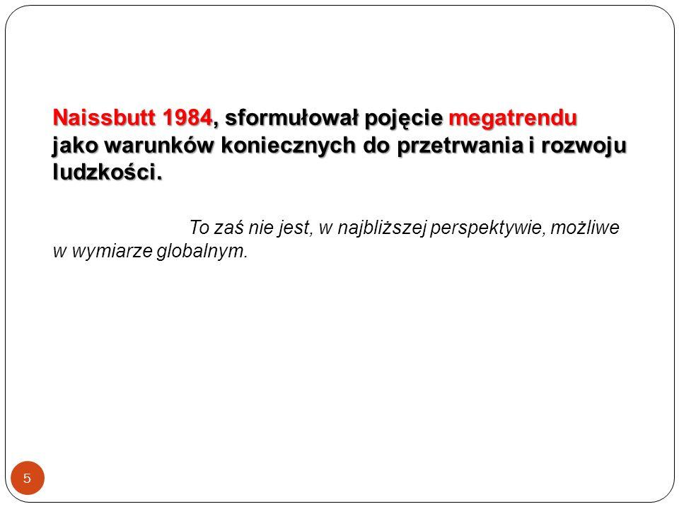 5 Naissbutt 1984, sformułował pojęcie megatrendu jako warunków koniecznych do przetrwania i rozwoju ludzkości.