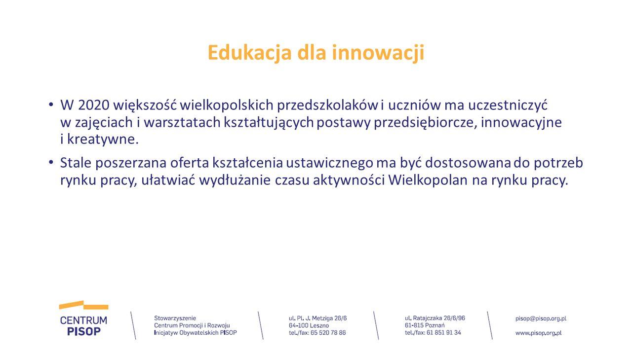 Edukacja dla innowacji W 2020 większość wielkopolskich przedszkolaków i uczniów ma uczestniczyć w zajęciach i warsztatach kształtujących postawy przed