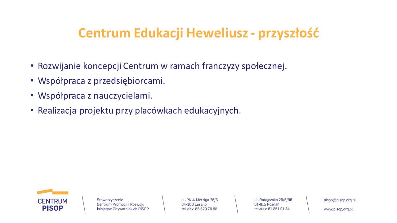 Centrum Edukacji Heweliusz - przyszłość Rozwijanie koncepcji Centrum w ramach franczyzy społecznej. Współpraca z przedsiębiorcami. Współpraca z nauczy