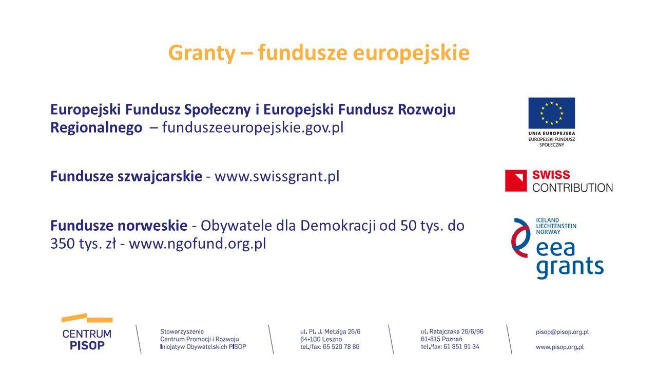 Granty – fundusze europejskie Europejski Fundusz Społeczny i Europejski Fundusz Rozwoju Regionalnego – funduszeeuropejskie.gov.pl Fundusze szwajcarski