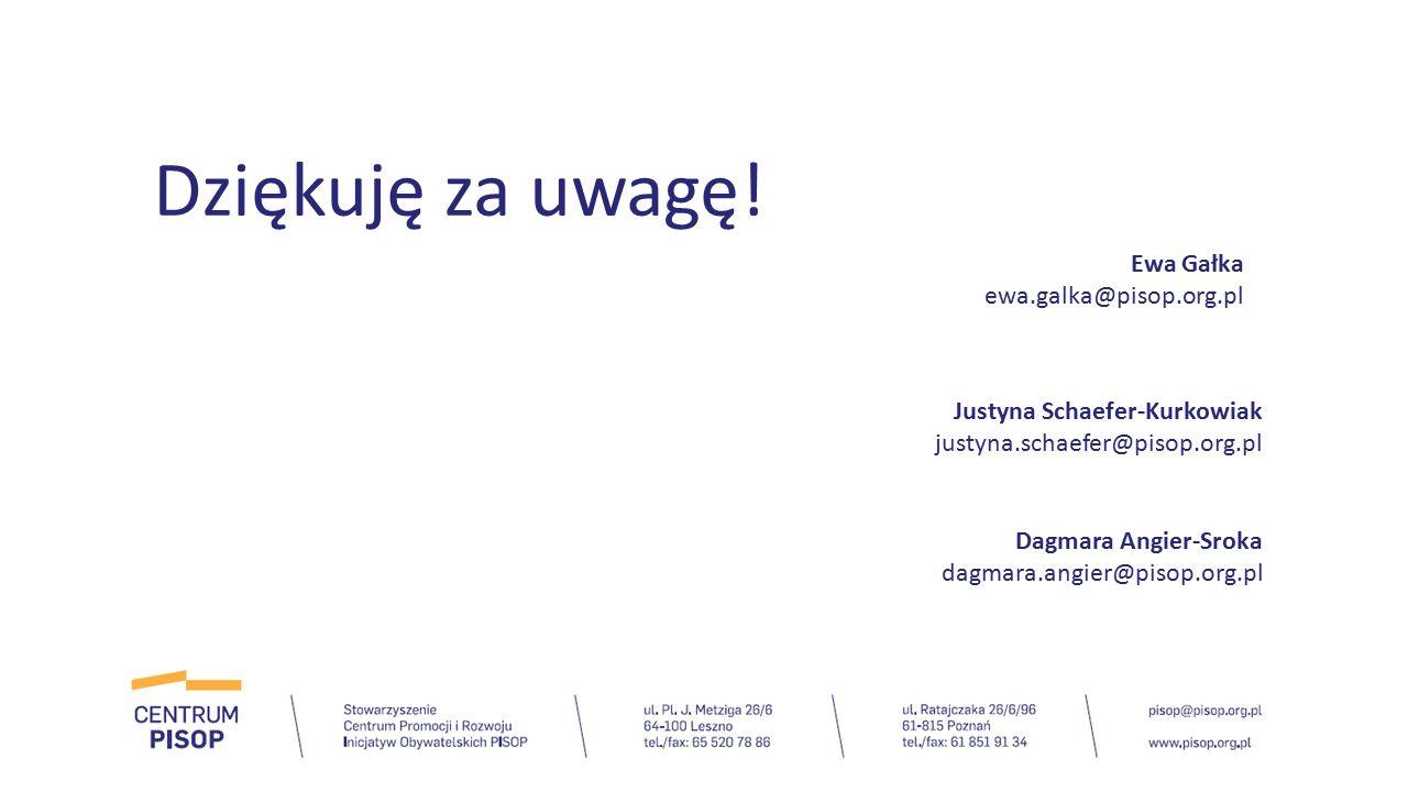 Dziękuję za uwagę! Ewa Gałka ewa.galka@pisop.org.pl Justyna Schaefer-Kurkowiak justyna.schaefer@pisop.org.pl Dagmara Angier-Sroka dagmara.angier@pisop