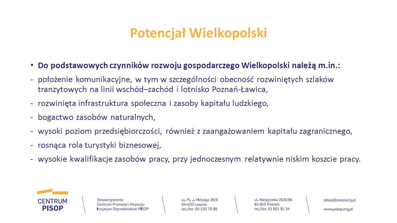 Potencjał Wielkopolski Do podstawowych czynników rozwoju gospodarczego Wielkopolski należą m.in.: -położenie komunikacyjne, w tym w szczególności obec