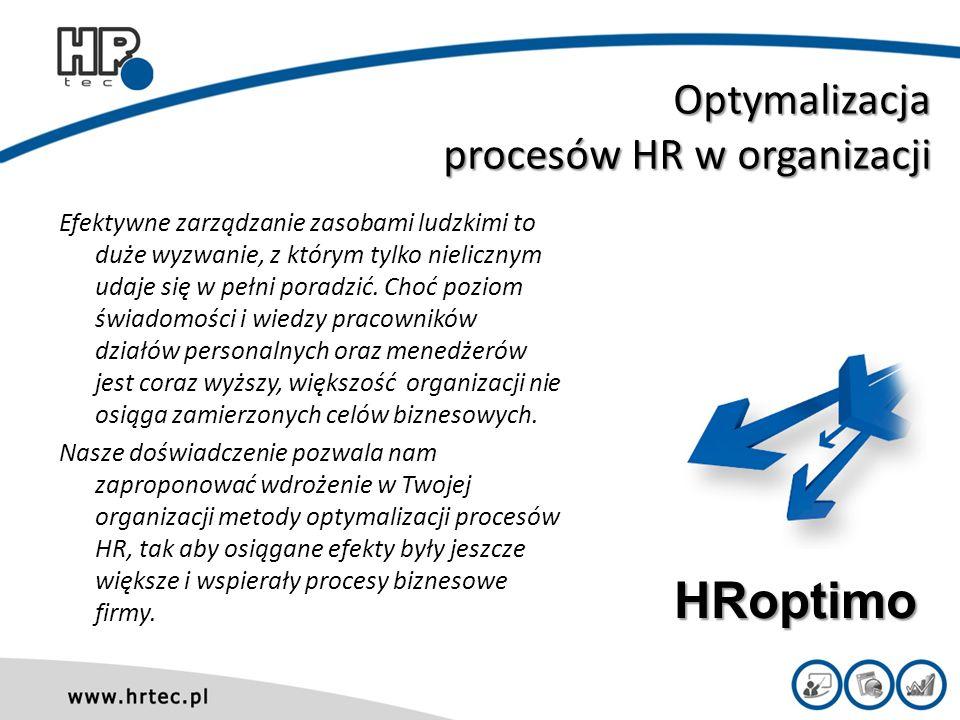 Projekty zarządzania procesami HR w organizacji W celu optymalizacji realizowanych procesów HR i zwiększenia ich spójności z celami strategicznymi organizacji, proponujemy Tobie już dziś wdrożenie naszych autorskich projektów HRprojects.