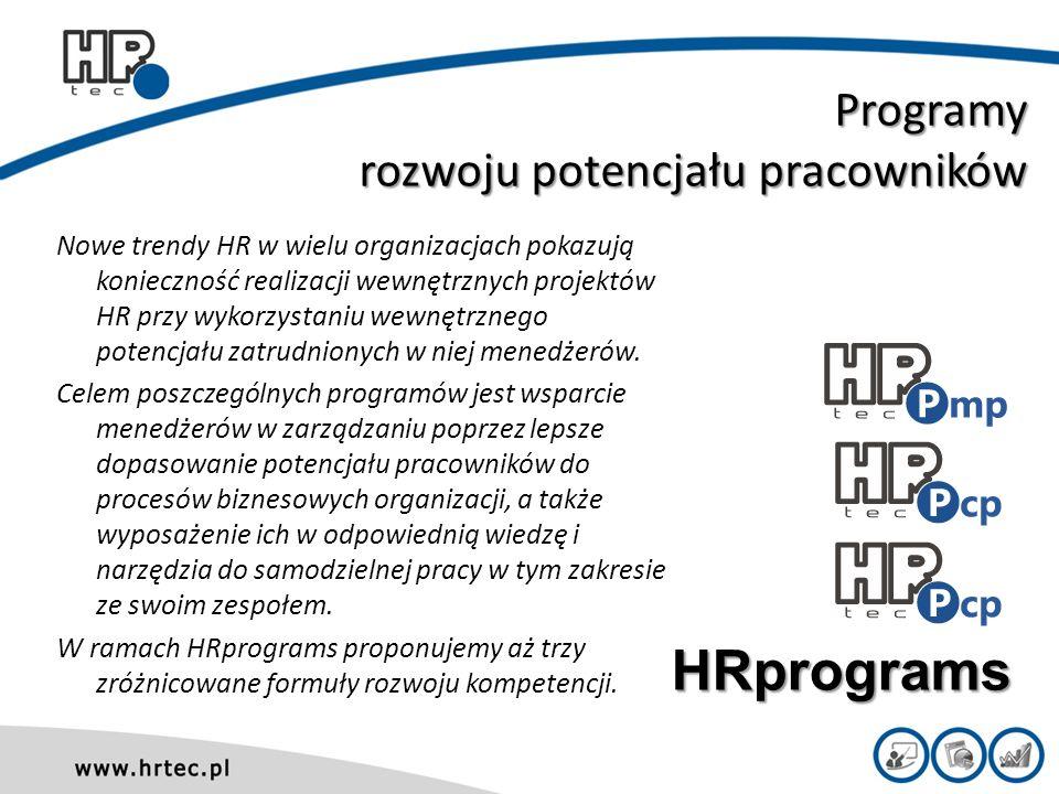 Programy rozwoju potencjału pracowników Nowe trendy HR w wielu organizacjach pokazują konieczność realizacji wewnętrznych projektów HR przy wykorzystaniu wewnętrznego potencjału zatrudnionych w niej menedżerów.