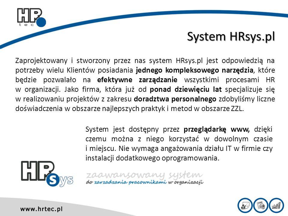 Moduły HR w systemie HRsys.pl Monito- ring persona- lny Badania 180/360 Rozmo- wy rozwojo- we Szkolenia on-line Rekruta- cja i selekcja Exit Interview Badania praco- wników Ocena okresowa Szkole- nia bezpo- średnie Cele System HRsys.pl posiada budowę modułową.