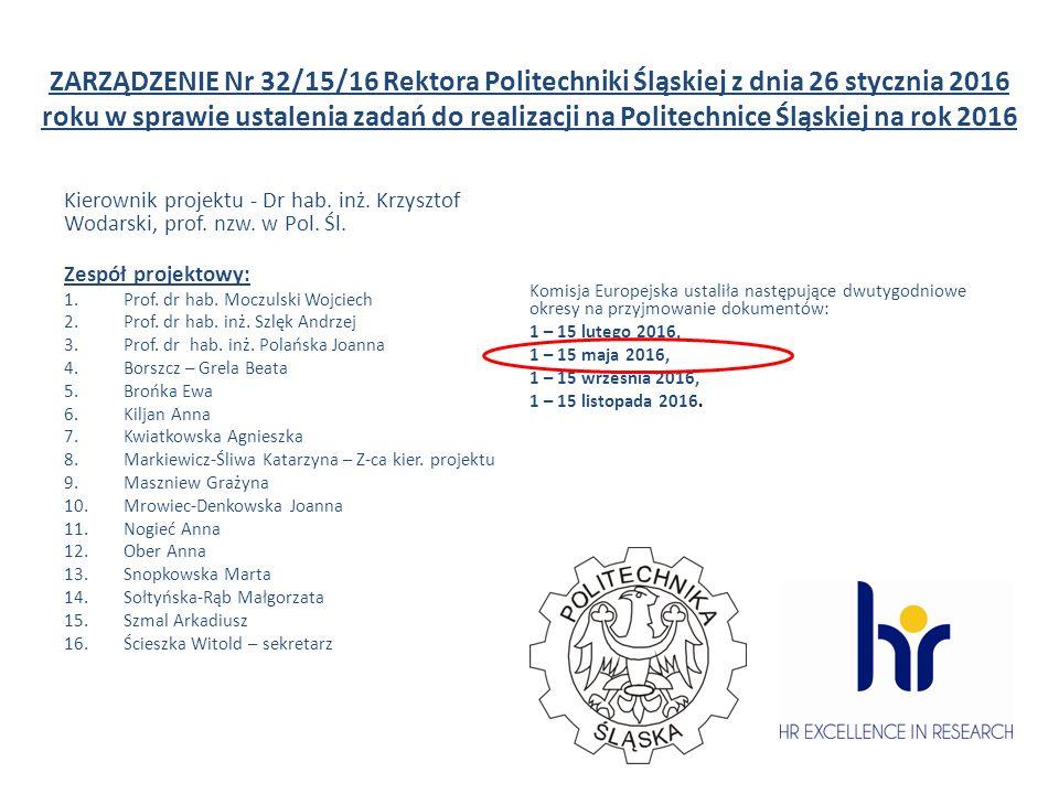ZARZĄDZENIE Nr 32/15/16 Rektora Politechniki Śląskiej z dnia 26 stycznia 2016 roku w sprawie ustalenia zadań do realizacji na Politechnice Śląskiej na rok 2016 Kierownik projektu - Dr hab.