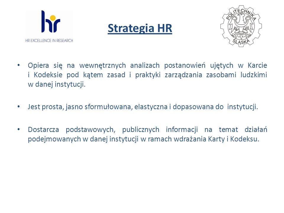 Strategia HR Opiera się na wewnętrznych analizach postanowień ujętych w Karcie i Kodeksie pod kątem zasad i praktyki zarządzania zasobami ludzkimi w danej instytucji.