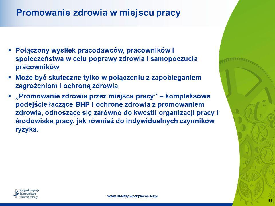 """11 www.healthy-workplaces.eu/pl Promowanie zdrowia w miejscu pracy  Połączony wysiłek pracodawców, pracowników i społeczeństwa w celu poprawy zdrowia i samopoczucia pracowników  Może być skuteczne tylko w połączeniu z zapobieganiem zagrożeniom i ochroną zdrowia  """"Promowanie zdrowia przez miejsca pracy – kompleksowe podejście łączące BHP i ochronę zdrowia z promowaniem zdrowia, odnoszące się zarówno do kwestii organizacji pracy i środowiska pracy, jak również do indywidualnych czynników ryzyka."""
