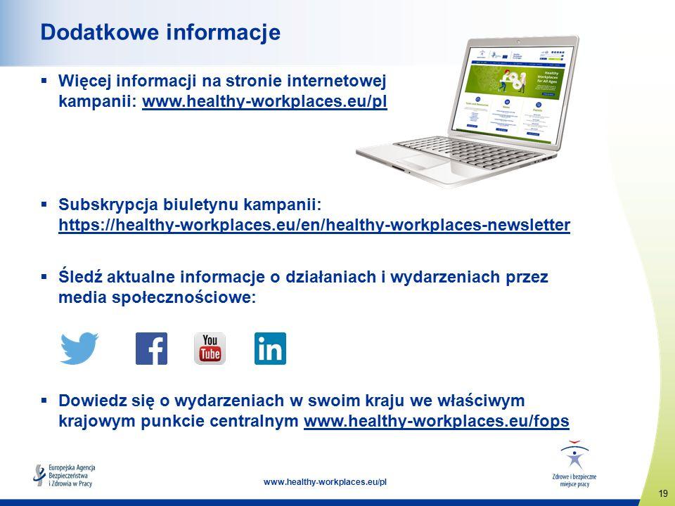 19 www.healthy-workplaces.eu/pl Dodatkowe informacje  Więcej informacji na stronie internetowej kampanii: www.healthy-workplaces.eu/plwww.healthy-workplaces.eu  Subskrypcja biuletynu kampanii: https://healthy-workplaces.eu/en/healthy-workplaces-newsletter https://healthy-workplaces.eu/en/healthy-workplaces-newsletter  Śledź aktualne informacje o działaniach i wydarzeniach przez media społecznościowe:  Dowiedz się o wydarzeniach w swoim kraju we właściwym krajowym punkcie centralnym www.healthy-workplaces.eu/fopswww.healthy-workplaces.eu/fops