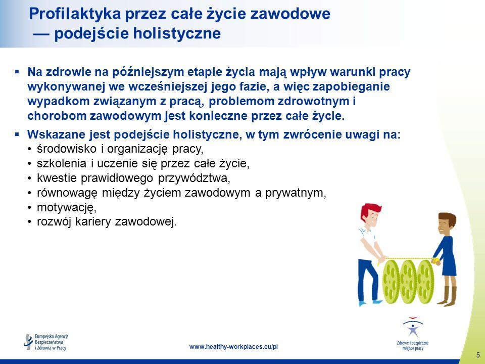 5 www.healthy-workplaces.eu/pl Profilaktyka przez całe życie zawodowe — podejście holistyczne  Na zdrowie na późniejszym etapie życia mają wpływ warunki pracy wykonywanej we wcześniejszej jego fazie, a więc zapobieganie wypadkom związanym z pracą, problemom zdrowotnym i chorobom zawodowym jest konieczne przez całe życie.