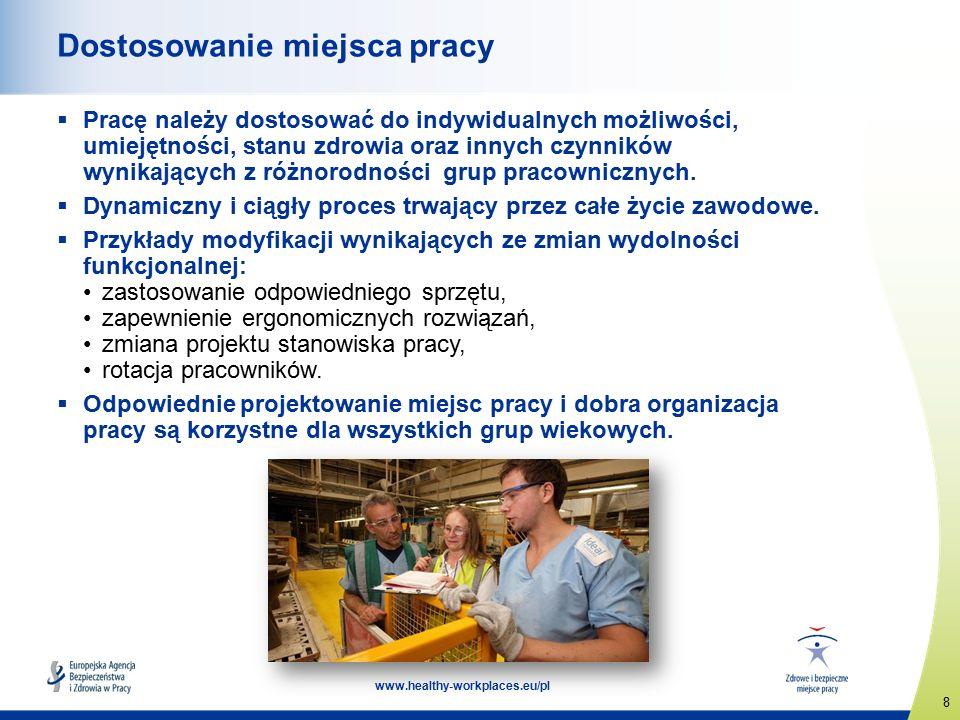 8 www.healthy-workplaces.eu/pl Dostosowanie miejsca pracy  Pracę należy dostosować do indywidualnych możliwości, umiejętności, stanu zdrowia oraz innych czynników wynikających z różnorodności grup pracownicznych.