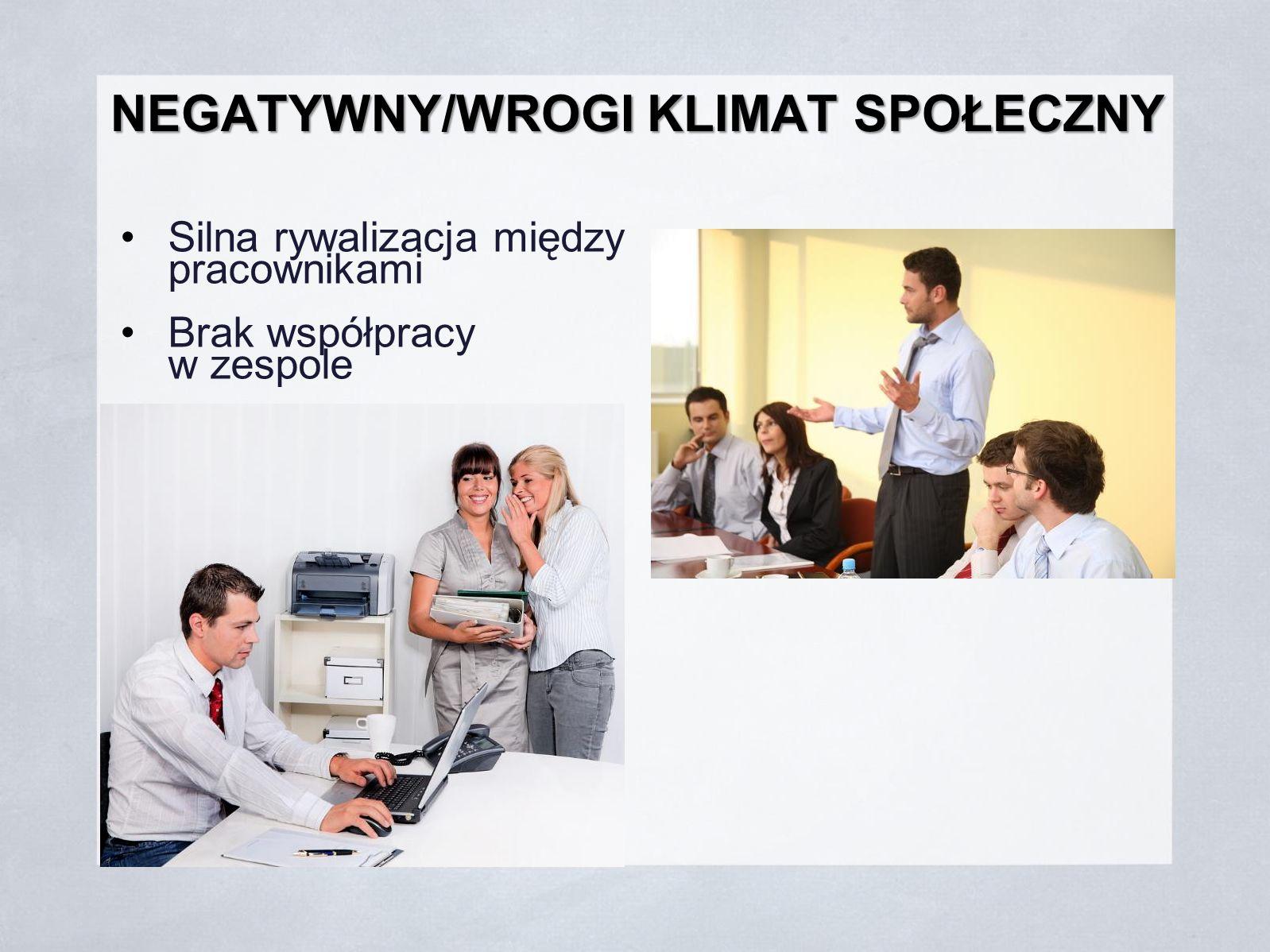 NEGATYWNY/WROGI KLIMAT SPOŁECZNY Silna rywalizacja między pracownikami Brak współpracy w zespole