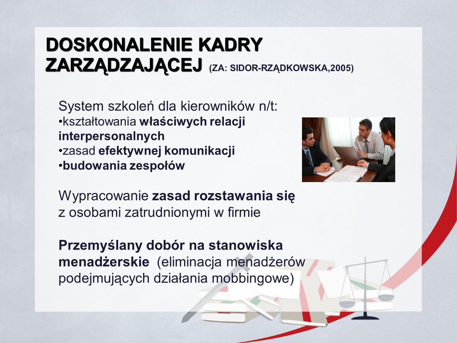 DOSKONALENIE KADRY ZARZĄDZAJĄCEJ DOSKONALENIE KADRY ZARZĄDZAJĄCEJ (ZA: SIDOR-RZĄDKOWSKA,2005) System szkoleń dla kierowników n/t: kształtowania właści