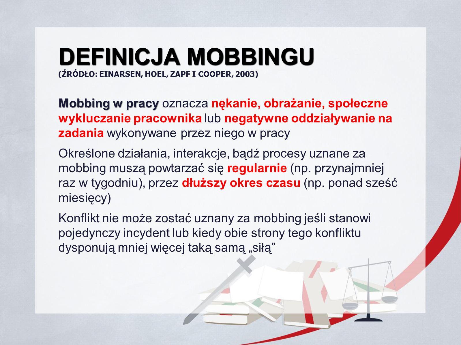DEFINICJA MOBBINGU DEFINICJA MOBBINGU (ŹRÓDŁO: EINARSEN, HOEL, ZAPF I COOPER, 2003) Mobbing w pracy Mobbing w pracy oznacza nękanie, obrażanie, społec