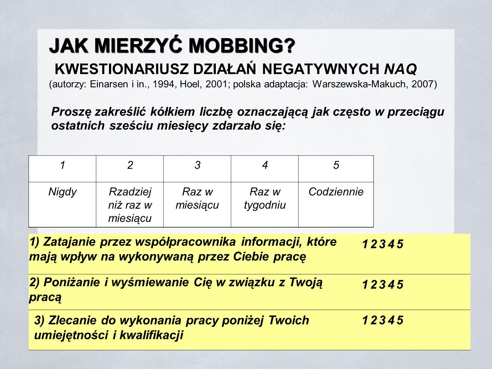 JAK MIERZYĆ MOBBING? KWESTIONARIUSZ DZIAŁAŃ NEGATYWNYCH NAQ JAK MIERZYĆ MOBBING? KWESTIONARIUSZ DZIAŁAŃ NEGATYWNYCH NAQ (autorzy: Einarsen i in., 1994
