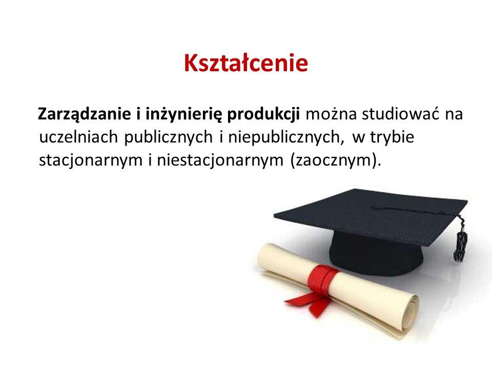 Kształcenie Zarządzanie i inżynierię produkcji można studiować na uczelniach publicznych i niepublicznych, w trybie stacjonarnym i niestacjonarnym (zaocznym).